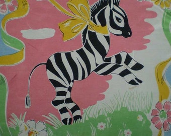 """Vintage 50s Zebra Novelty Print Large Scarf 26"""" x 29"""""""