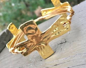 Gold Cross Bangle; Gold Hammered Cross; Cross Bracelet; Crosses