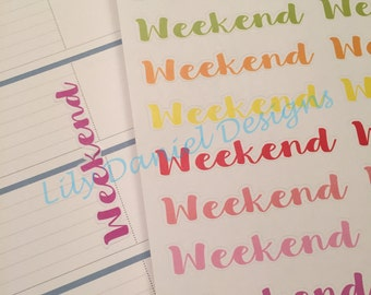 20 Fancy Weekend Horizontal Vertical Planner Stickers for Erin Condren Life Planner (ECLP) Reminder Sticker LDD1171