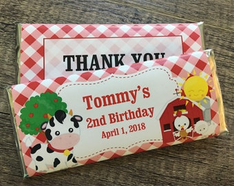 Farm Themed Birthday Party Favors-Candy Wrapper favors-pack of 10-WRAPPERS ONLY-farm animal birthday-1st birthday party