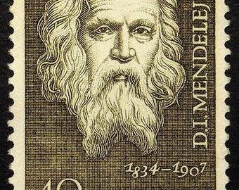 D.I. Mendelejew 1834-1907 Chemist and inventor -Handmade Framed Postage Stamp Art 22403AM