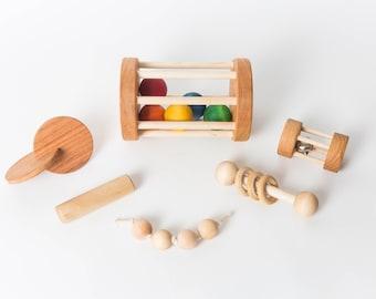 Montessori Baby Set of 6 Toys -- Montessori Infant Set -- Motor Development Set