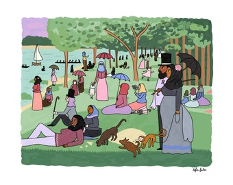 Sunday Afternoon on the Island of La Grande Jatte by Seurat - Intersectional Inktober Version - Print - Hand-Illustrated