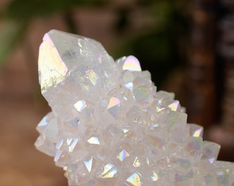 Angel Aura SPIRIT QUARTZ Lotus Flower Crystals - M, L - Angel Aura Quartz Clusters, Aura Spirit Quartz Crystal, Spirit Quartz Point R0005