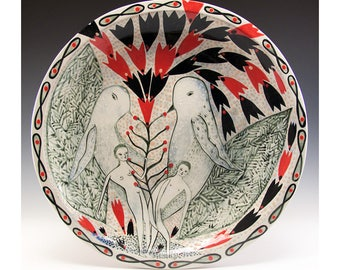 Large 12 1/2 inch Hand Painted Plate - Painting by Jenny Mendes on a round ceramic plate - Birds and Nudes