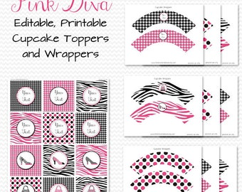 Pink Diva Cupcake Toppers, Cupcake Wrappers, Birthday Party Decorations, Pink and Black, Zebra Print  - Editable, Printable