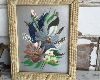 Vintage Floral Paintings on Silver Metallic - Textured Gesso Frames - 8 x 10 - Pair