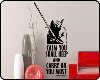 "Star Wars wall decal with Yoda - Star Wars art removable vinyl sticker / 23"" x 49"""