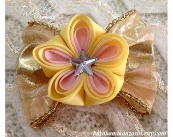 Twinkle Twinkle - Tsumami Kanzashi Hair Ornament Barrette Clip by Christina Stoppa