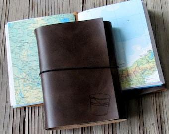 bucket list journal with maps as a travel journal - dark brown- moms, dads, grads gift - tremundo