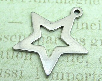 Stainless Steel Star Charm, Stainless Steel Jewelry Pendant, Set of 10 SST Findings 21x20x1mm Medium Star Charm (041)