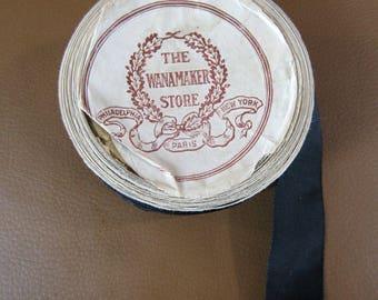5+ yards antique black silk ribbon 1 inch wide Wanamaker Store Philadelphia