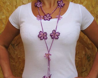 Pretty crocheted cotton and Golden glass seed necklace