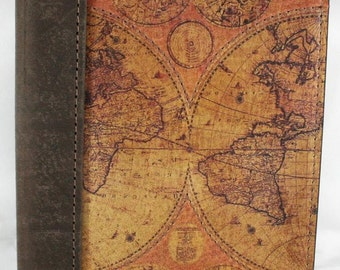 """Leather Travel Journal - Notebook - Diary - Logbook with a Printed Old World Map on front cover, 5"""" X 7"""" with Lined Paper"""