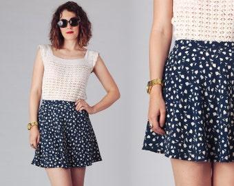 90s Navy Circle Mini Skirt / High Waisted Floral Skater Skirt / Poka Dots Blue & Ivory Mini Skirt