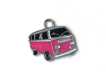 1-5 Pink & Black Hippy Bus or Van. Enameled colored front with smooth back. Nice quality. Peace love happiness groovy baby!