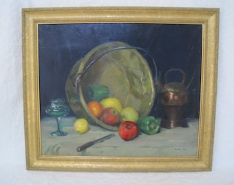 Oil on Board Still Life with Fruit by Listed Early California Artist Doris Estelle Rohr