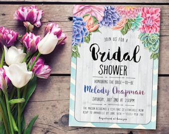 Floral bridal shower invitation, bridal shower invitation, boho bridal shower invitation, floral, vintage, whimsical, rustic (Melody)