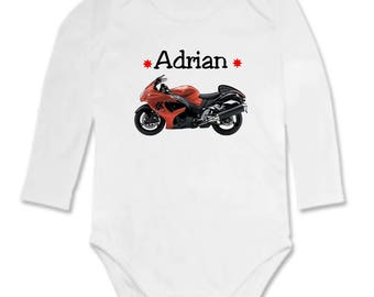 Bodysuit red bike personalized with name