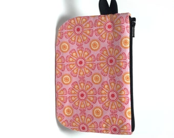 Pink and orange floral zip pouch.  Zipper pouch. Small zip pouch. Coin purse. Card holder.  Gift card holder.  Business card holder.