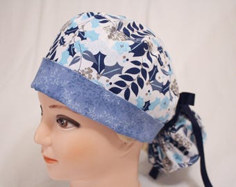 Winter Blues Ponytail Scrub Hat