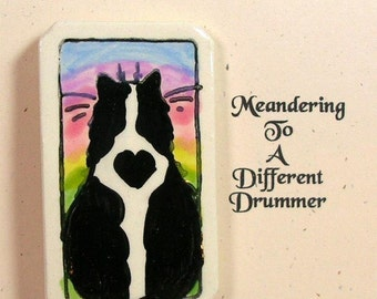Cat & Rainbow Clay Pin Handmade by Grace M Smith Earthenware Ceramic