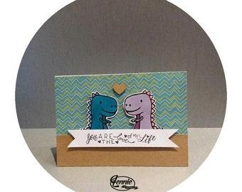 DINO card LOVE - You are the love of my life - Handmade card is handmade by Lennie cute dinosaur love dinosaur