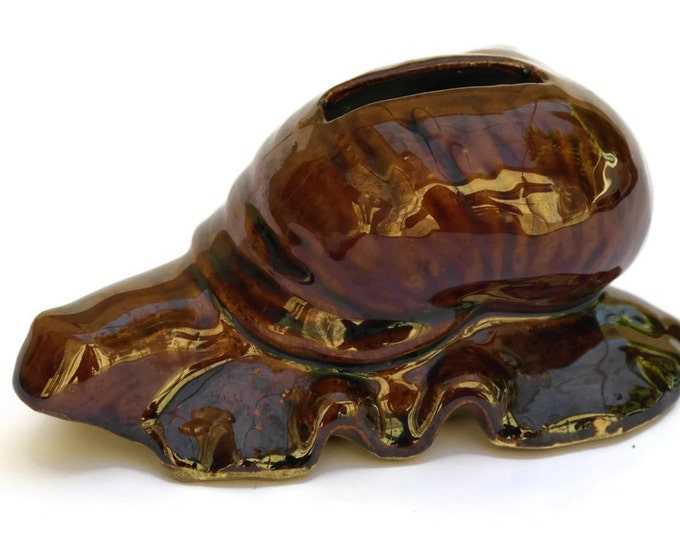 French Vintage Ceramic Snail Money Box. Escargot Coin Bank. Gift for gardener.
