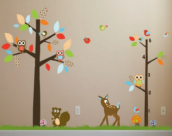 Nursery wall decals Childrens wall stickers Polka Dot Trees with Owls and Birds