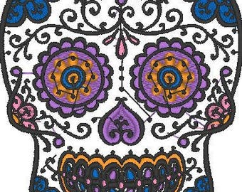 Colorful Sweet Skull Embroidered Iron On Patch