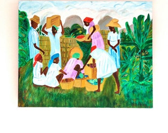 Modern Oil Painting of Culture People In Market, Nature on Canvas (Nature Painting)