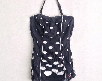 1950s Swim suit // Bombshell Playsuit // 50s Pin-up Swimwear // Polka dot Romper // 50s Liberty Bathing suit