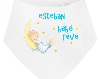 Personalized with name dream baby bandana bib
