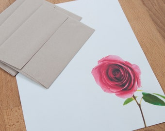 Letter Writing Set - Red Rose Writing Paper