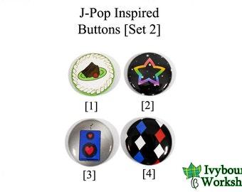 J-Pop / Vocaloid Inspired 1-Inch Pinback Buttons [Set 2]