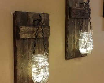 Mason jar sconces, Candle Holders, Rustic Home  Decor, candle holder, Rustic Lantern, Mason Jar wood candle,  Candle holders  priced 1 each