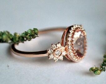 Morganite Engagement Ring. Diamond Morganite Ring. Oval Morganite Ring. 14K Rose Gold Engagement Ring. Diamond Halo Bridal 3 Stone Ring