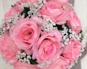 Custom Pink Rose Bridal Bouquet, Pink Wedding Bouquet, Pink Rose and White Baby's Breath Artificial Wedding Flowers