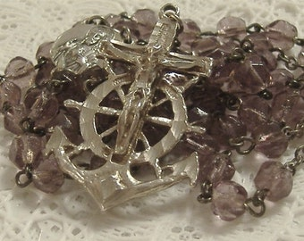 Sterling Silver Vintage Sailor's Rosary Amethyst Glass ANCHOR CRUCIFIX