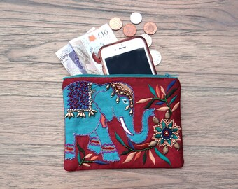 Teal Elephant Coin Purse Teal Embroidered Beads Handmade Fair Trade Large