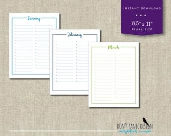 Printable Calendar - Birthday Calendar - Anniversary Calendar - Colorful Eternal Planner - Instant Download PDF