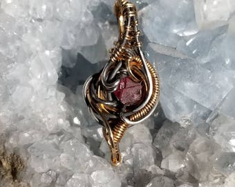 Heady Wire Wrapped Spinel in Sterling Silver and Gold Fill Small Pendant