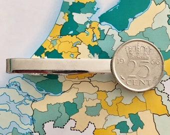 Netherlands tie clip quarter/dime coin in birth year 1982 - 1983 - 1984 - 1985 - 1986 - 1987 - 1988 - 1989 - 1990 Dutch Holland