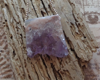 Amethyst Slab and Sterling Silver Necklace