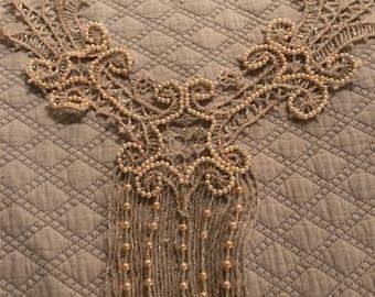Vintage Beaded Applique. Beaded Bodice embellishment. White Beaded Applique. Vintage Applique