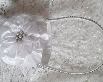 White Flower Girl Basket, White Flower Girl Basket, Bling Flower Girl Basket, Rhinestone Mesh handle and Trim