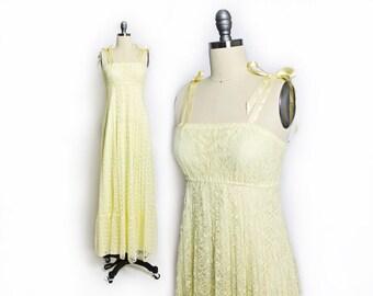 Vintage 1970s Dress - Yellow Lace Pleated Maxi Boho Sleeveless Empire Waist - XS Extra Small