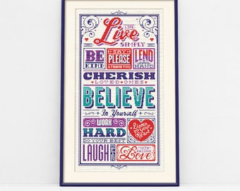 Live Simply Typographic Cross Stitch Pattern (Digital Format - PDF)