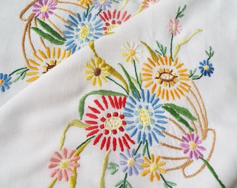 Vintage linen tablecloth, square floral tablecloth. Hand embroidered flower baskets on a white tablecloth. Ideal for an afternoon tea party!