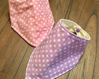 Bib Bandana bib Baby bib Baby gift Pink polka dot Purple polka dot Baby girl